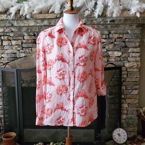 Charter Club Pink Linen Floral-Print Shirt